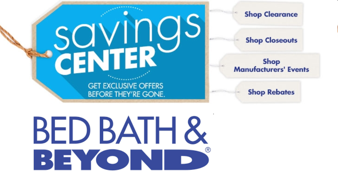 Image of Bed Bath and Beyond logo with Link to Bed Bath and Beyond clearance page
