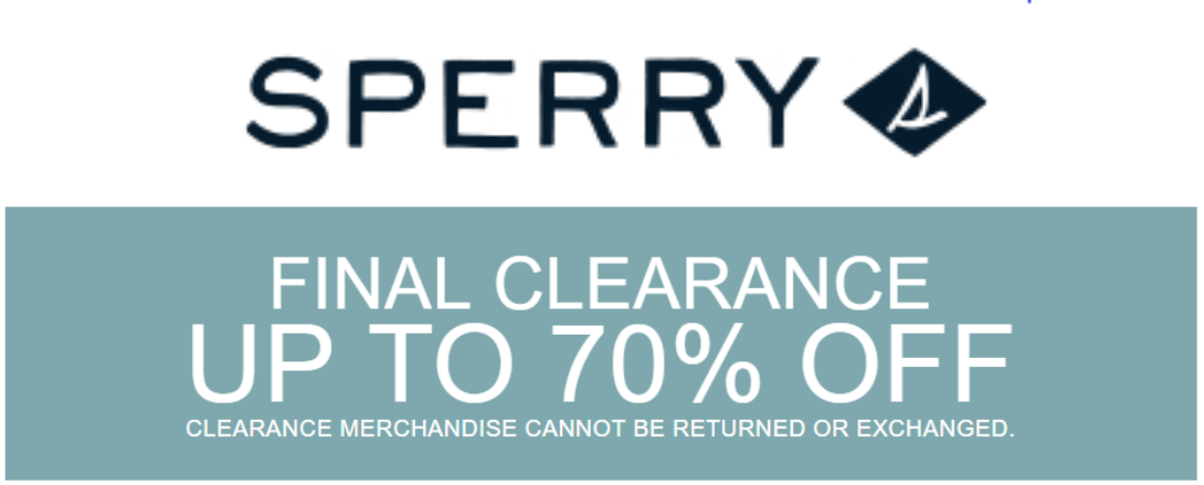 Image of sperry logo with Link to home sperry clearance page