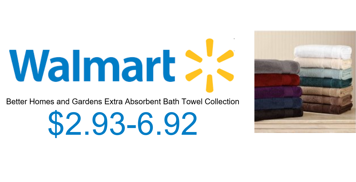 Image of walmart logo and towels with Link to walmart towels page
